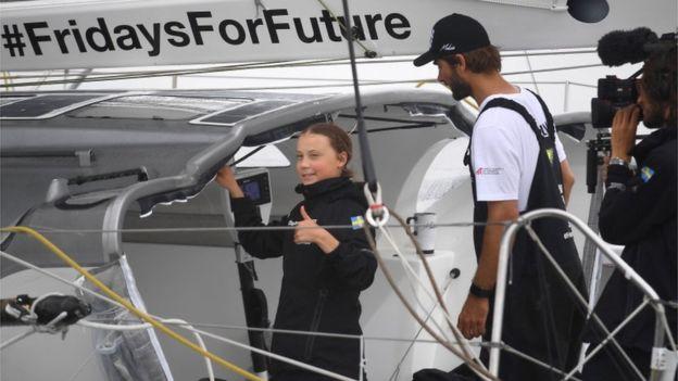 グレタさんヨットでスウェーデンからニューヨークまで画像
